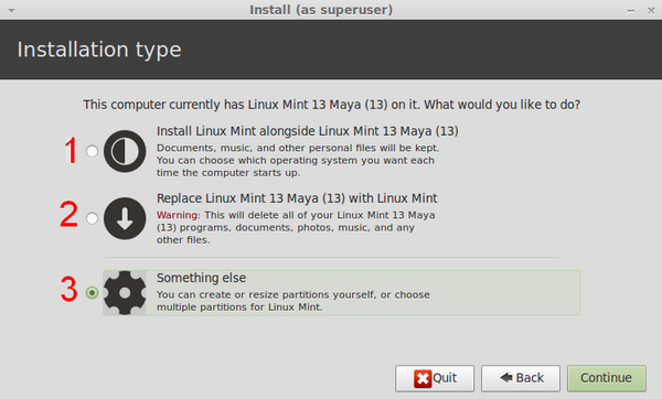 linuxmint install type